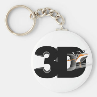 3d Helicopter Basic Round Button Keychain