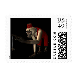 3D Hurdy-Gurdy Monkey & Spider - Color Stamp