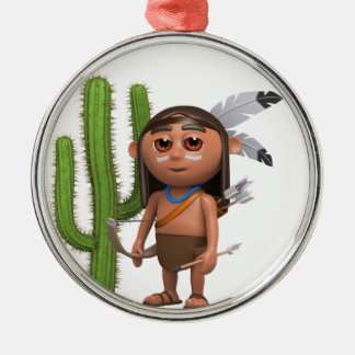 3d Indian Brave Cactus Round Metal Christmas Ornament