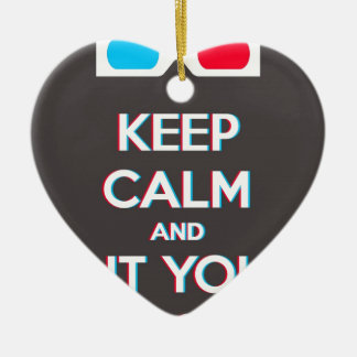 3D Keep Calm And Put You Glasses On Double-Sided Heart Ceramic Christmas Ornament