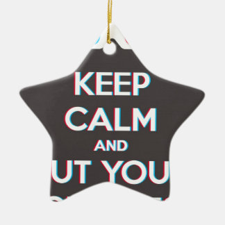 3D Keep Calm And Put You Glasses On Double-Sided Star Ceramic Christmas Ornament