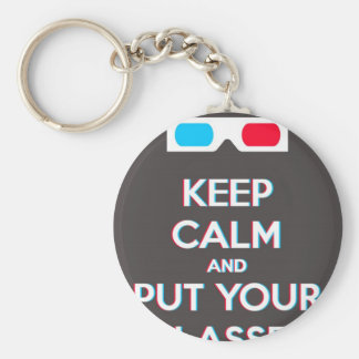 3D Keep Calm And Put You Glasses On Basic Round Button Keychain