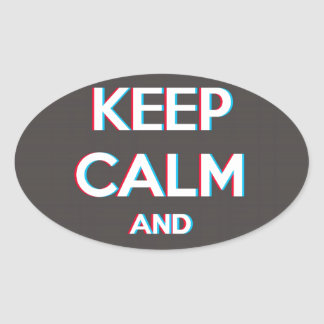 3D Keep Calm And Put You Glasses On Oval Sticker