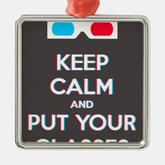 3D Keep Calm And Put You Glasses On Square Metal Christmas Ornament