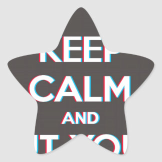 3D Keep Calm And Put You Glasses On Star Sticker