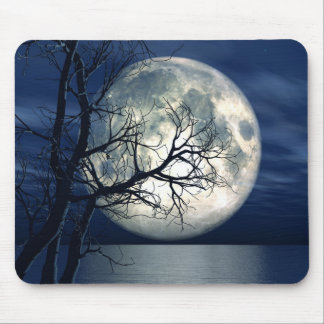 3D Landscape Background With Moon Over The Sea Mouse Pad