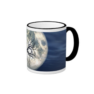 3D Landscape Background With Moon Over The Sea Mugs