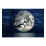 3D Landscape Background With Moon Over The Sea Poster