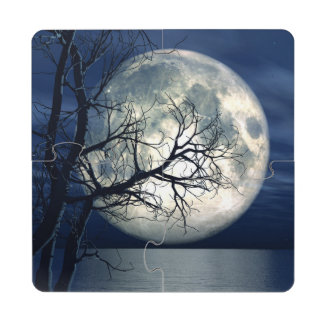 3D Landscape Background With Moon Over The Sea Puzzle Coaster