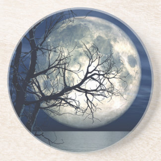 3D Landscape Background With Moon Over The Sea Sandstone Coaster