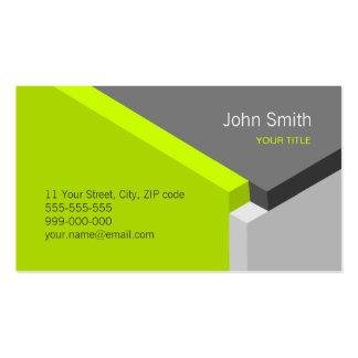 3D Lime / Grey Geometry business card