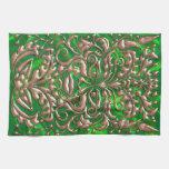 3D Liquid Copper GreenMan Damask on Green Satin Kitchen Towel
