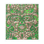 3D Liquid Copper GreenMan Damask on Green Satin Memo Notepad