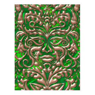 3D Liquid Copper GreenMan Damask on Green Satin Postcard