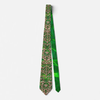 3D Liquid Copper GreenMan Damask on Green Satin Tie