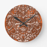 3D Liquid Copper GreenMan Damask on orange Satin Round Clock