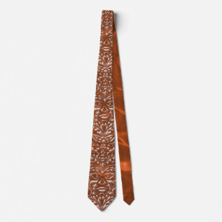 3D Liquid Copper GreenMan Damask on orange Satin Tie