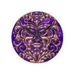 3D Liquid Copper GreenMan Damask on Purple Satin Wallclocks