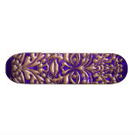 3D Liquid Copper GreenMan Damask on Purple Satin Skateboard