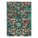 3D Liquid Copper GreenMan Damask on Satin Lush Greeting Cards