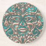 3D Liquid Copper GreenMan Damask on Satin Lush Coasters