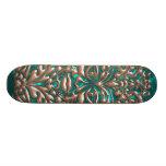 3D Liquid Copper GreenMan Damask on Satin Lush Skateboard Deck