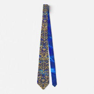 3D Liquid Gold GreenMan Damask on Blue Satin Lush Tie
