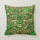 3D Liquid Gold GreenMan Damask on Green Satin Lush Throw Pillow