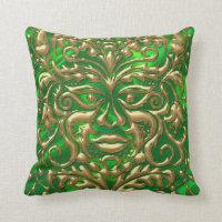 3D Liquid Gold GreenMan Damask on Green Satin Lush Throw Pillow (<em>$36.95</em>)
