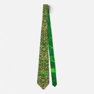 3D Liquid Gold GreenMan Damask on Green Satin Lush Tie