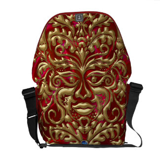 3D Liquid Gold GreenMan Damask on Red Satin Lush Courier Bag