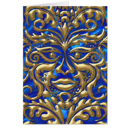 3D Liquid Gold GreenMan Damask on Satin Lush Card
