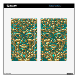 3D Liquid Gold GreenMan Damask on Satin Lush Kindle Fire Decal