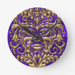 3D Liquid Gold GreenMan Damask Purple Satin Lush Round Clocks