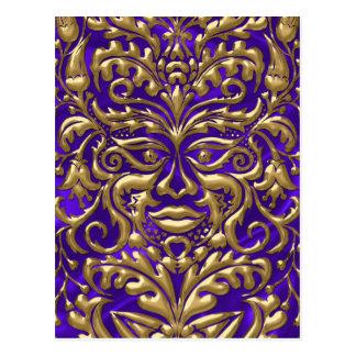 3D Liquid Gold GreenMan Damask Purple Satin Lush Postcard