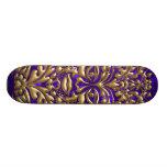 3D Liquid Gold GreenMan Damask Purple Satin Lush Skate Boards
