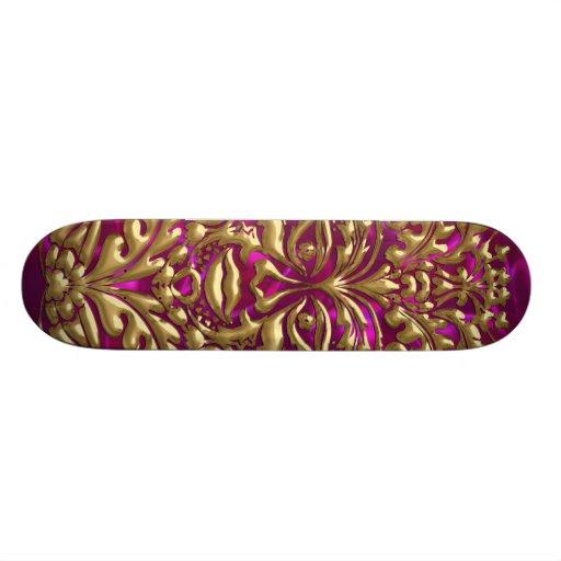 3D Liquid goldGreenMan Damask on Magenta Satin Skate Boards