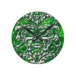3D Liquid Silver GreenMan Damask on Green Satin Wallclock