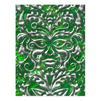 3D Liquid Silver GreenMan Damask on Green Satin Postcard