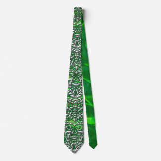 3D Liquid Silver GreenMan Damask on Green Satin Tie