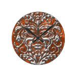 3D Liquid Silver GreenMan Damask on Orange Satin Wall Clock