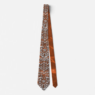 3D Liquid Silver GreenMan Damask on Orange Satin Tie