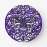 3D Liquid Silver GreenMan Damask on Purple Satin Clock