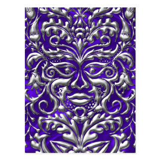 3D Liquid Silver GreenMan Damask on Purple Satin Postcard