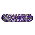 3D Liquid Silver GreenMan Damask on Purple Satin Skate Deck