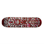 3D Liquid Silver GreenMan Damask on Red Satin Lush Skateboards