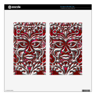 3D Liquid Silver GreenMan Damask on Red Satin Lush Decal For Kindle Fire