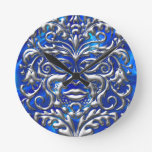3D Liquid Silver GreenMan Damask on Satin Lush Clock