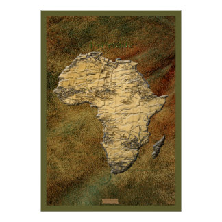 3D-look Africa Map Art Poster