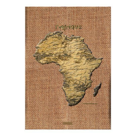 3D-look Africa Map Texture-effect Art Poster